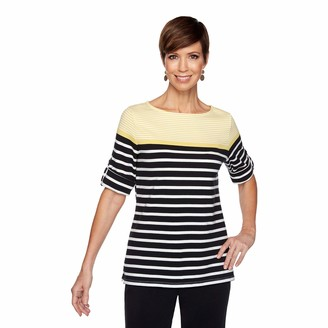 Ruby Rd. Women's Plus Size Striped Color Blocking Top