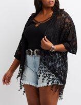 Charlotte Russe Plus Size Lace Crochet-Hem Kimono
