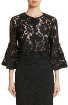 Lela Rose Women's Lace Bell Sleeve Bolero