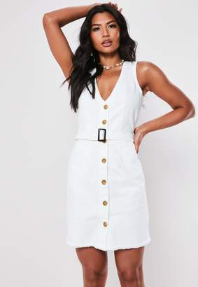Missguided Tall White Denim Belted Plunge Mini Dress