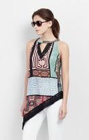 Nicole Miller Patchwork Panama Asymmetric Top
