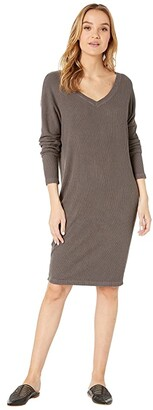 Hard Tail Long Sleeve V-Neck Dress (Black) Women's Dress