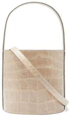 STAUD Bisset Croc-effect Leather Bucket Bag - Grey