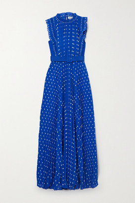 Self-Portrait Belted Pleated Polka-dot Chiffon Maxi Dress - Blue