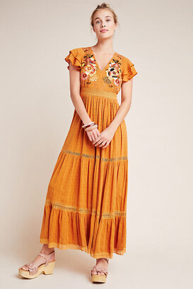 Maeve Sunshine Embroidered Maxi Dress By in Yellow Size 0