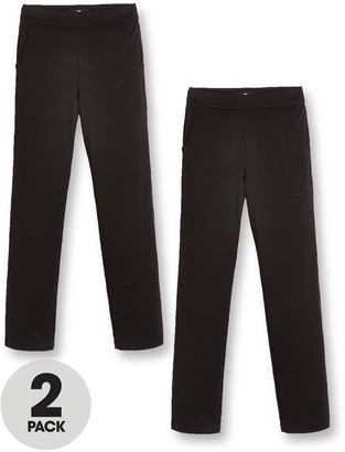 Very Girls 2 Pack Jersey School Trousers - Black
