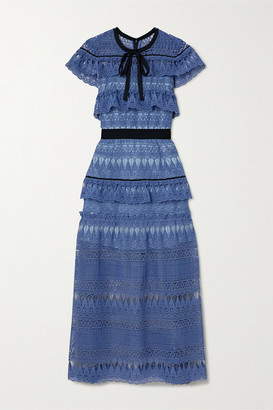 Self-Portrait Daphne Grosgrain-trimmed Ruffled Guipure Lace Midi Dress - Azure
