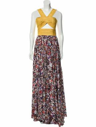 Astier Ny Abstract Print Maxi Dress Yellow