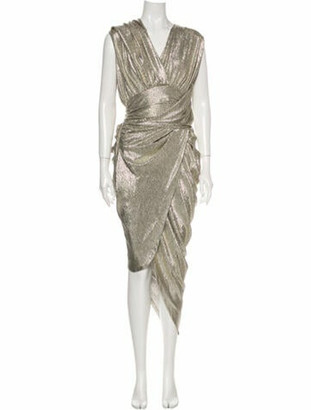 Balmain V-Neck Midi Length Dress Gold