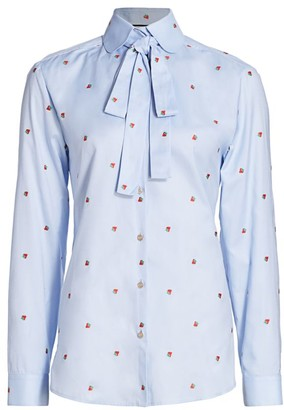 Gucci Strawberry Oxford Blouse with Removable Neck Tie