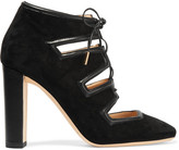 Jimmy Choo Latch Leather-trimmed Suede Pumps - Black