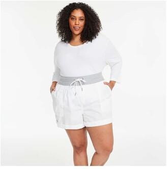 Joe Fresh Women+ Poplin Shorts, White (Size 1X)