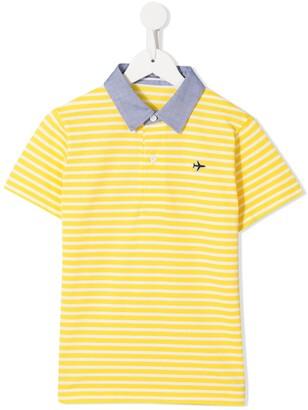 Familiar Embroidered Logo Striped Polo