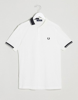 Fred Perry abstract tipped polo in white