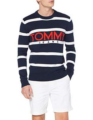 Tommy Jeans Men's TJM Bold Logo Sweater Jumper, Blue (Black IRIS/Multi 002), S