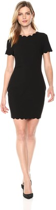 LIKELY Women's Scallop Manhattan Short Sleeve Bodycon Cocktail Dress