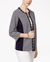 Alfred Dunner Petite Seas The Day Striped Jacket