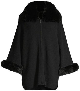 Sofia Cashmere Fox Fur Cuff & Collar Cashmere Coat
