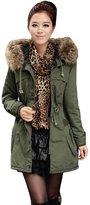 Minibee Women's Fur Hoody Autumn-winter 2016 New Trench Coat with Drawstring M