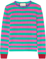 Gucci Metallic-trimmed Striped Cashmere And Wool-blend Sweater - Pink