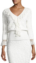 Michael Kors Crochet-Trim Soutache-Embroidered Top, White