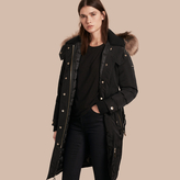 Burberry Down-filled Parka Coat with Detachable Fur Trim