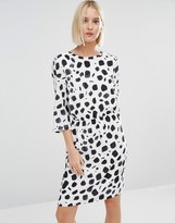 Selected Norva Waisted Dress in Printed Silk