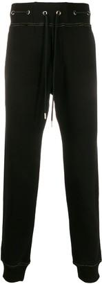 Versace Metallic Thread Eyelet Detail Track Pants