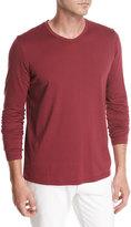 Loro Piana Long-Sleeve Cotton Crewneck T-Shirt, Red