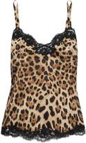 Dolce & Gabbana Lace-trimmed Leopard-print Stretch-silk Satin Camisole - Leopard print