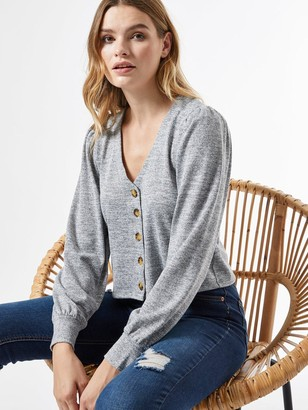 Dorothy Perkins Puff Sleeve Brushed Cardigan - Grey