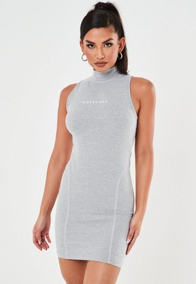 Missguided Gray High Neck Contrast Stitch Mini Dress