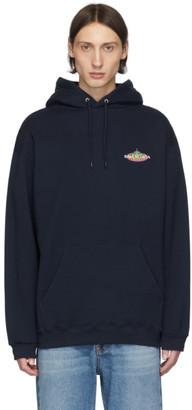 Balenciaga Navy Brushed Logo Hoodie