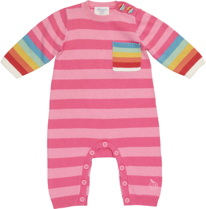 Bonnie Baby Striped Coverall with Rainbow Trim