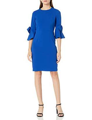 Donna Morgan Women's Stretch Crepe 3/4 Bell Sleeve Sheath Dress