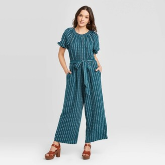 Universal Thread Women's Striped Short Sleeve Round Neck Smocked Jumpsuit - Universal ThreadTM