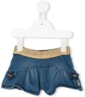 Little Marc Jacobs Floral Detailed Denim Shorts