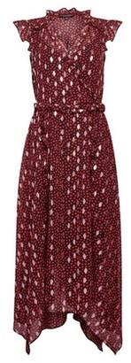 Dorothy Perkins Womens Red Leopard Print Foil Asymmetric Ruffle Midi Dress, Red
