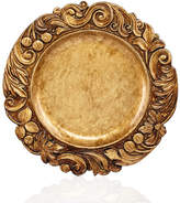 Jay Imports Gold Wood Textured Charger Plate