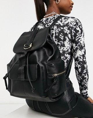 Topshop faux-leather utility backpack in black