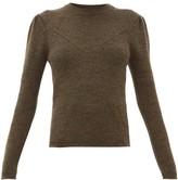 Isabel Marant Hynn Gathered-sleeve Wool-blend Sweater - Womens - Khaki