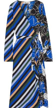 Diane von Furstenberg Tilly Paneled Printed Crepe De Chine Midi Wrap Dress