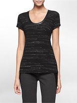 Calvin Klein Womens Space Dye Short Sleeve Top