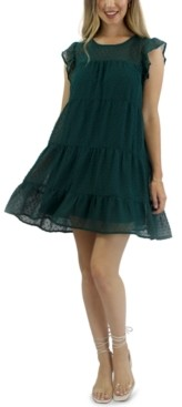 Crystal Doll Juniors' Tiered Swiss-Dot Dress