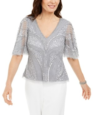 Adrianna Papell Petite Sequined & Beaded Blouse