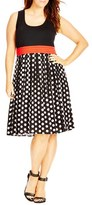 City Chic Plus Size Women's 'Contrast Spot' Mixed Media Dress