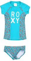 Roxy Kids - Sand Blossom Rashguard Set (Toddler/Little Kids) (Caribbean) - Apparel