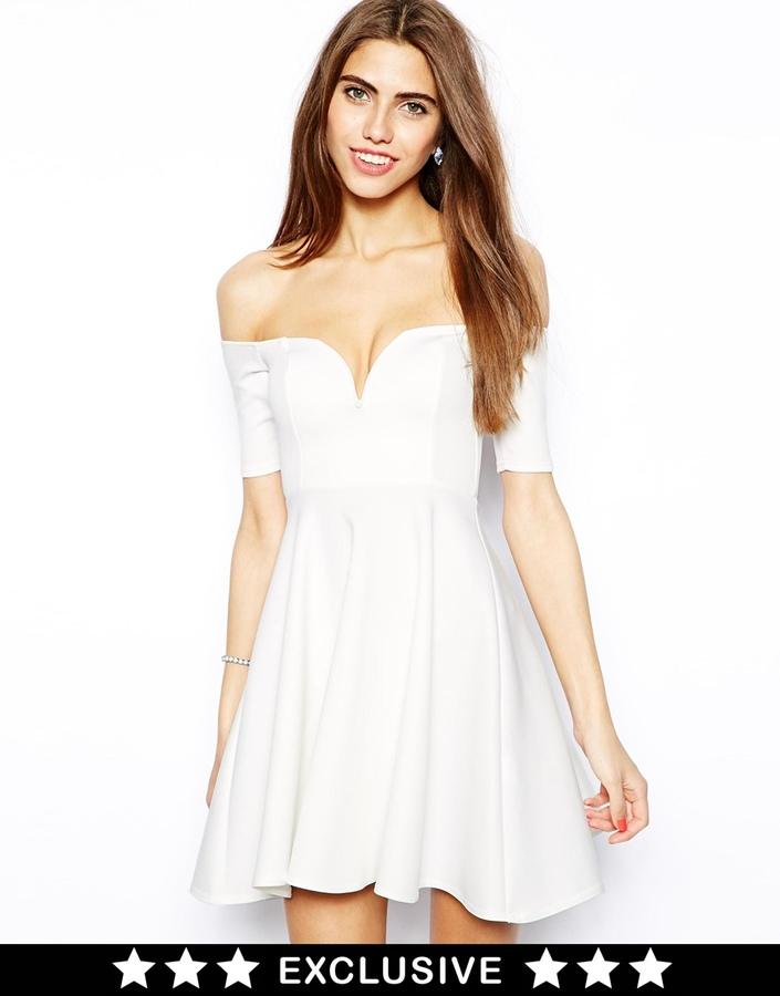 Oh My Love Scuba Off Shoulder Skater Dress