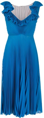 Marco De Vincenzo Silk Ruffle Pleated Midi Dress
