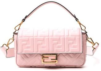 Fendi Baguette FF Embossed Shoulder Bag